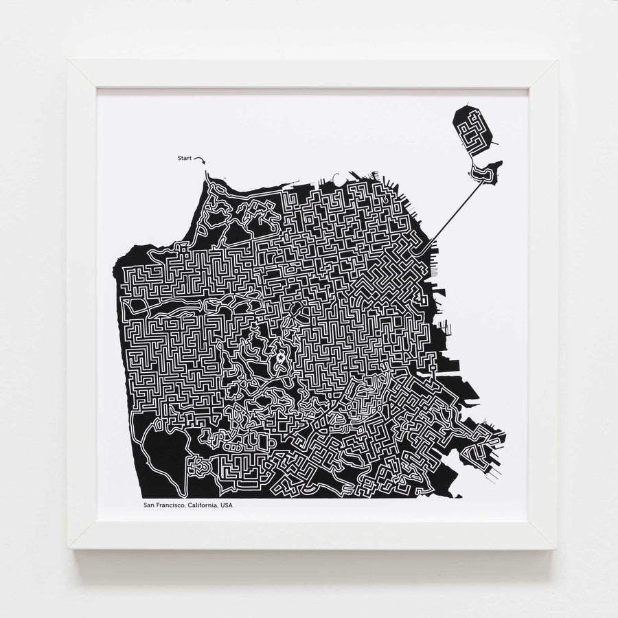 black and white san francisco map art print poster maze california san fran