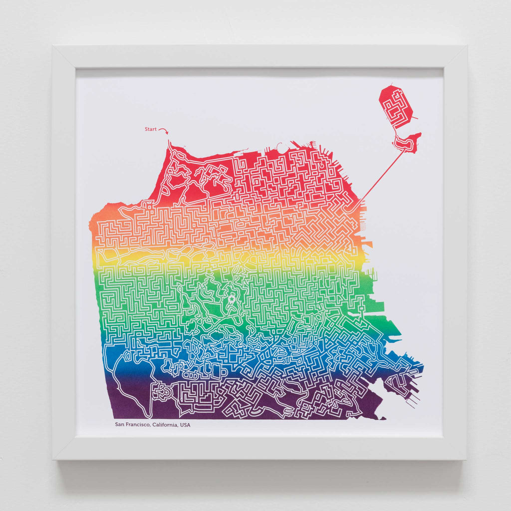 rainbow san francisco maze map poster art print tourist gift