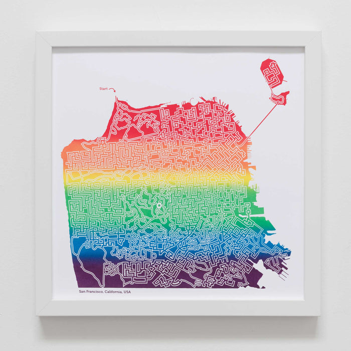 rainbow san francisco map art print poster maze california city tourist gift souvenir puzzle labyrinth screen print city housewarming present