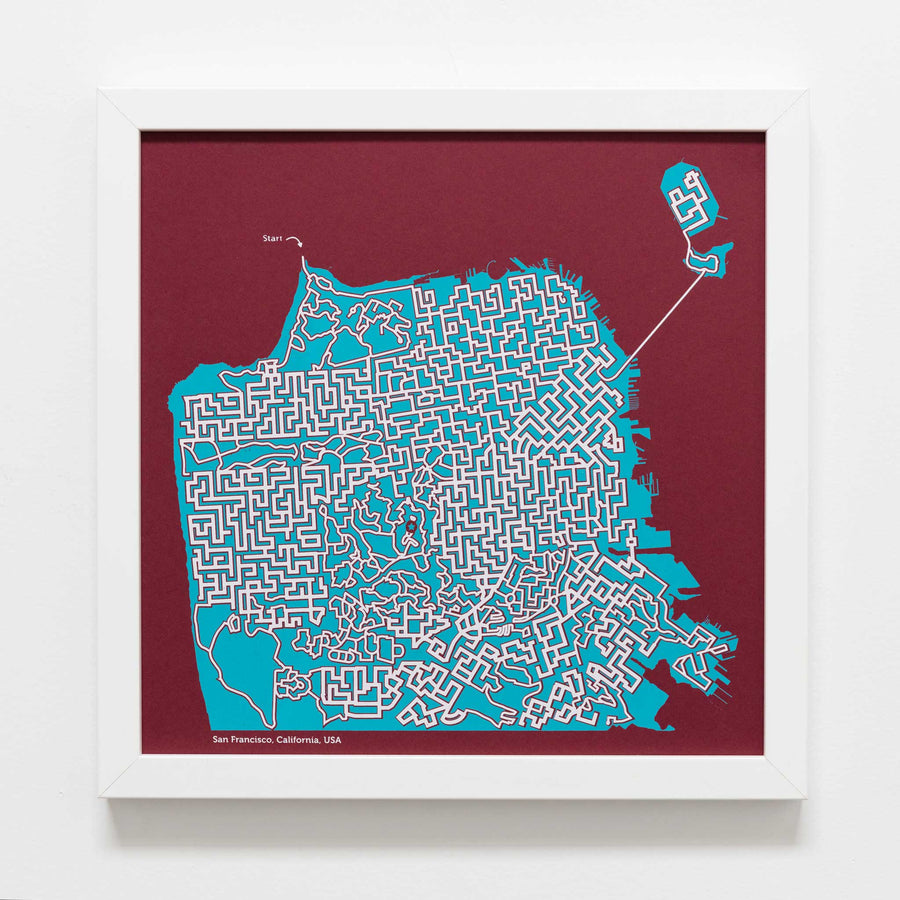 red and teal san francisco california map art print poster maze city tourist gift souvenir puzzle labyrinth screen print city housewarming present