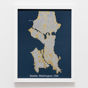 blue and gold seattle map art print poster maze washington puzzle labyrinth screen print city