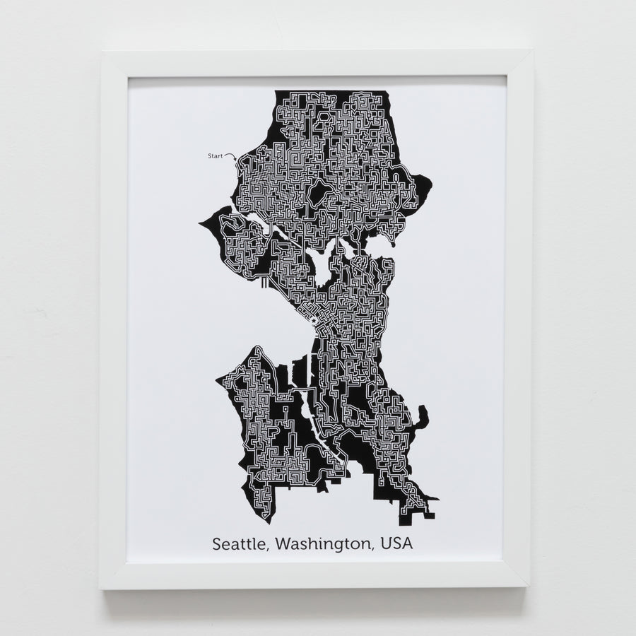 black and white seattle map art print poster maze washington screen print