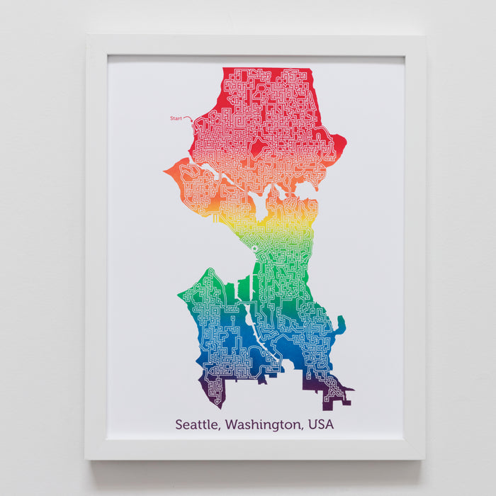 rainbow seattle washington city map art print poster maze city tourist gift souvenir puzzle labyrinth screen print city housewarming present