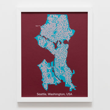 red and teal seattle washington city map art print poster maze city tourist gift souvenir puzzle labyrinth screen print city housewarming present