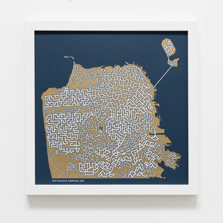 blue and gold san francisco map art print poster maze california san fran puzzle labyrinth screen print city