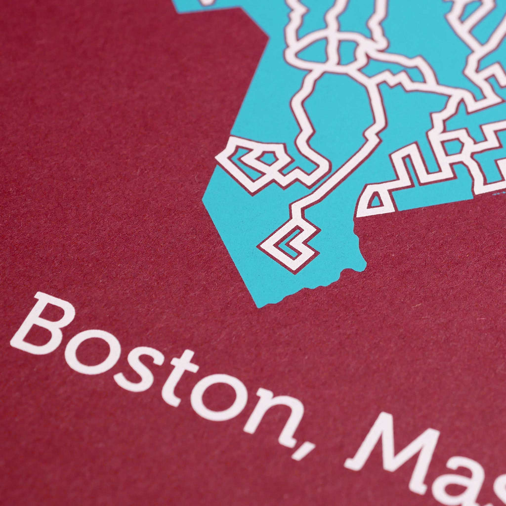 red and teal boston massachussetts map art print poster maze city tourist gift souvenir puzzle labyrinth screen print city housewarming present
