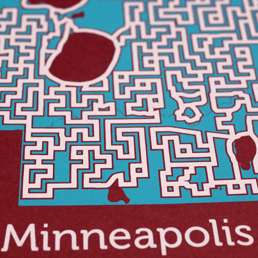 red and teal minneapolis minnesota city map art print poster maze city tourist gift souvenir puzzle labyrinth screen print city housewarming present