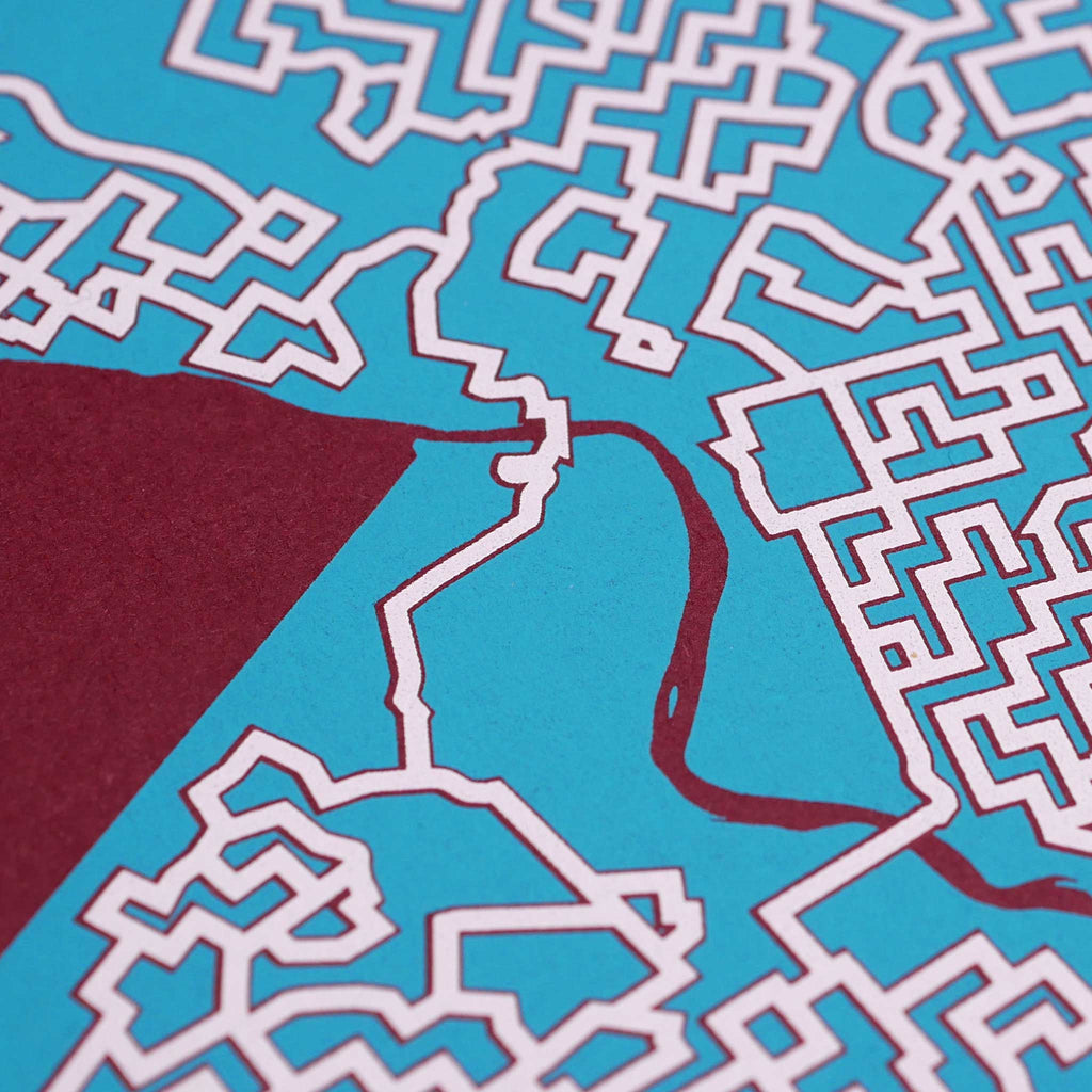 red and teal philadelphia pennsylvania philly city map art print poster maze city tourist gift souvenir puzzle labyrinth screen print city housewarming present