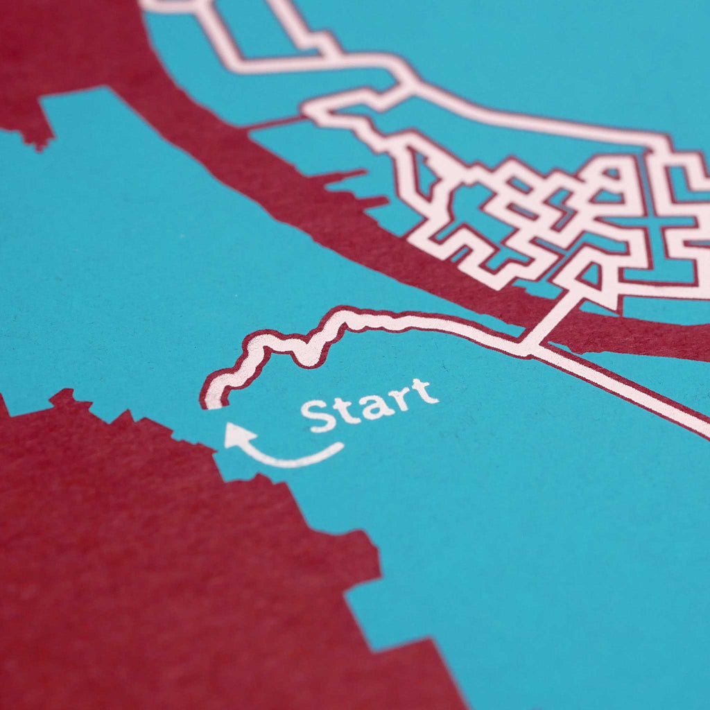 red and teal portland oregon city map art print poster maze city tourist gift souvenir puzzle labyrinth screen print city housewarming present