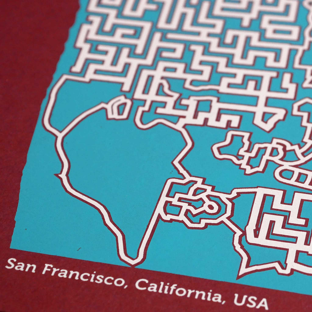 Red and Teal San Francisco Print | 12X12 Map Poster