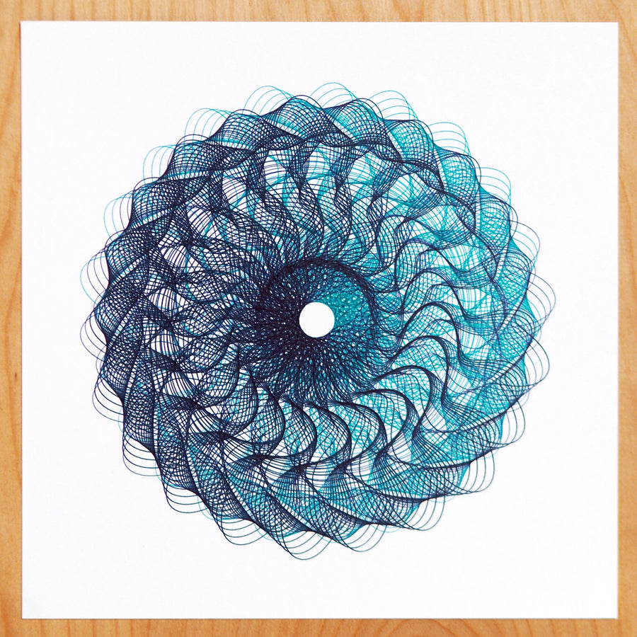 Teal Sunflower Spirograph Print - Limited Edition of 2