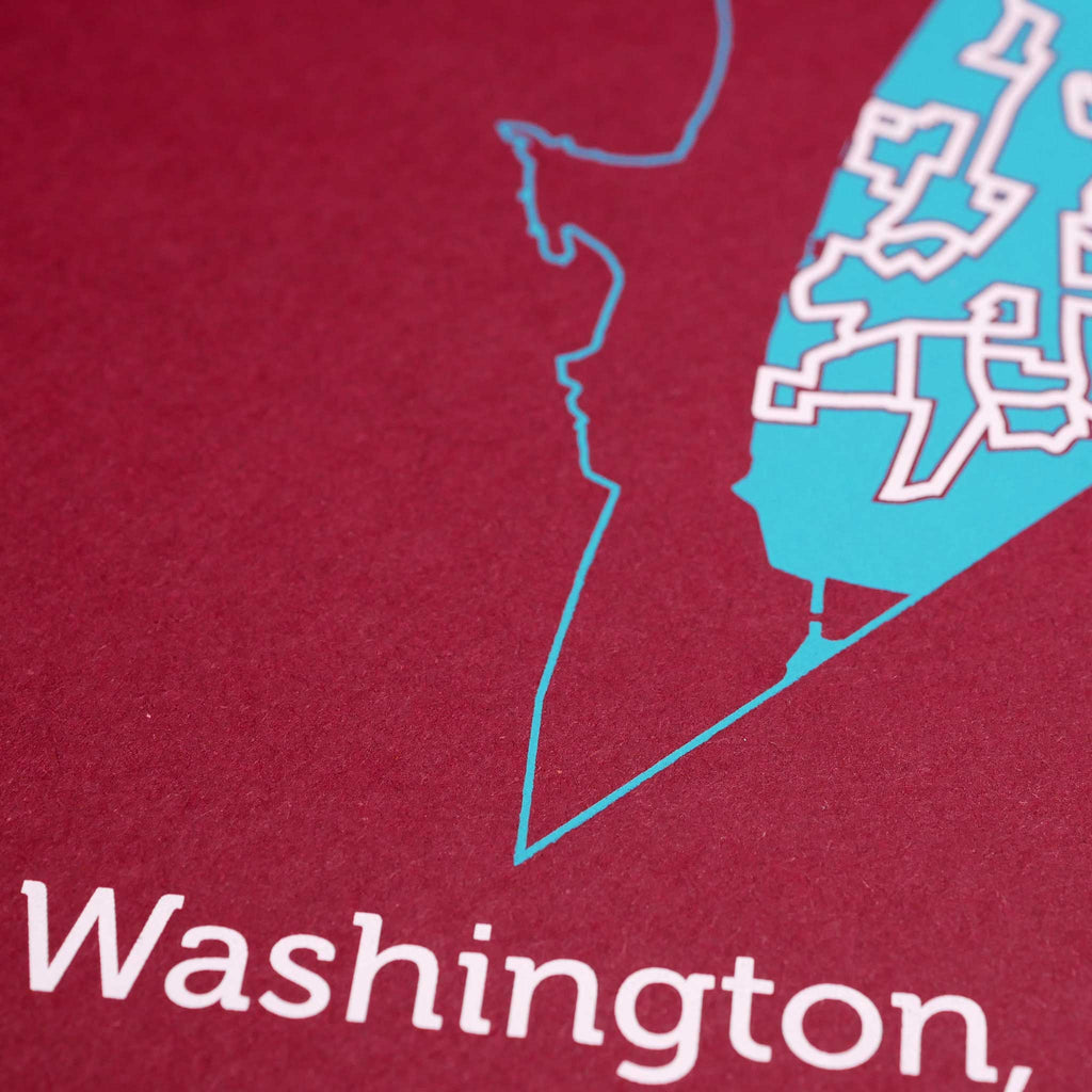 Red and Teal Washington D.C. Poster | 11X14 Map Print