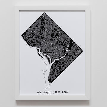 black and white washington d.c. map art print poster maze us capitol