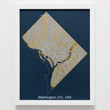 blue and gold washington d.c. map art print poster maze us capitol puzzle labyrinth screen print city