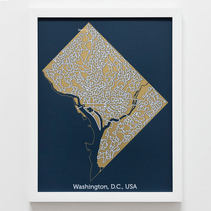 Blue and Gold Washington D.C. Print | 11X14 Gold Map