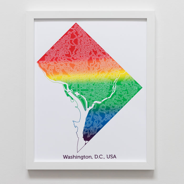 rainbow washington dc us capitol map art print poster maze city tourist gift souvenir puzzle labyrinth screen print city housewarming present