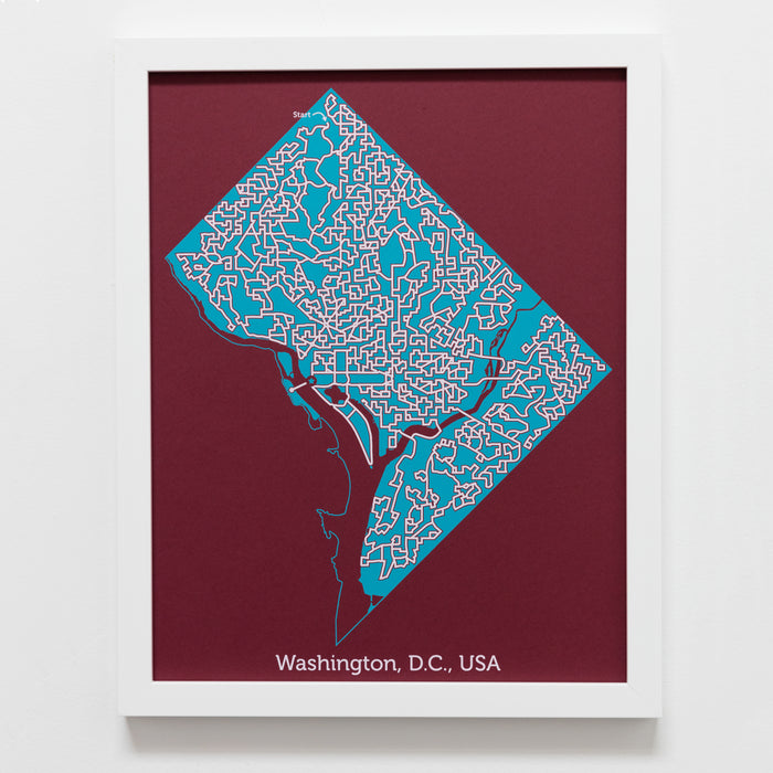 red and teal washington dc us capitol city map art print poster maze city tourist gift souvenir puzzle labyrinth screen print city housewarming present
