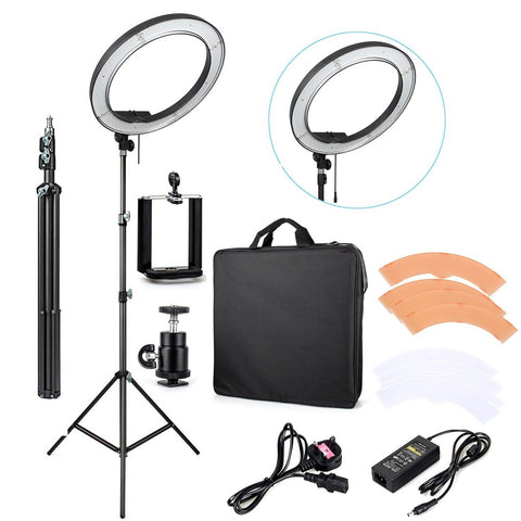 "18"" LED Ring Light Kit (With Diffuser + Carry Bag + Light Stand)"