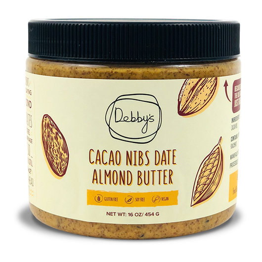 Cacao Nibs Date Almond Butter - 16 oz - Debby's Bites