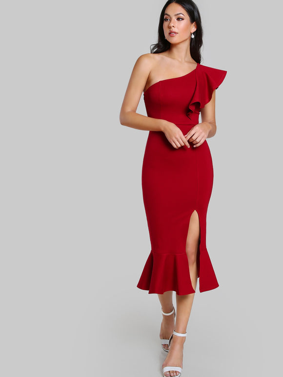 Off The Shoulder Fishtail Red Dress