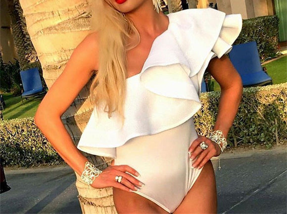 One shoulder Ruffles bodysuit