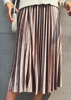 High Waist Velvet Pleated Skirt