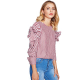 Bow Tied Striped Blouse