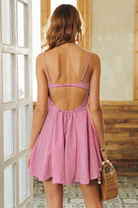 Backless Strap Plaid Dress