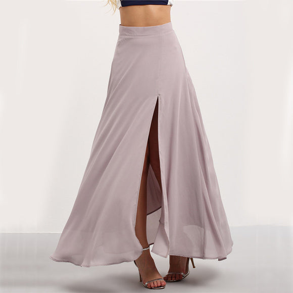 Purple Split Maxi High Waist Skirt