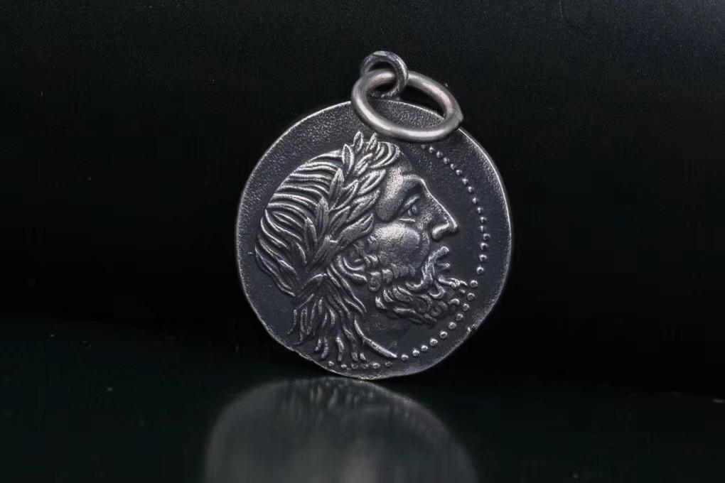Sterling silver Rome coin pendant