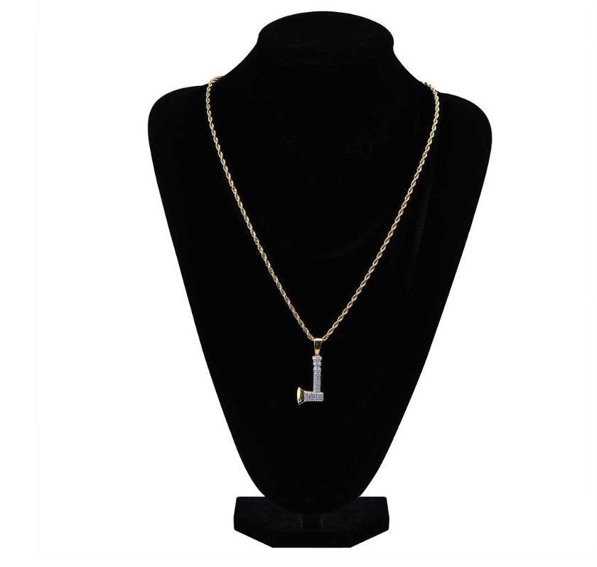 14k gold plate axe pendant necklace with zirconia stone set 真金镀铜锆石镶嵌斧头吊坠项链