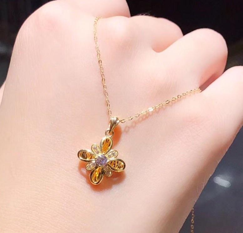 18 k gold flower necklace - Xingjewelry