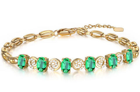 18k White Gold Diamond Emerald bracelet - Xingjewelry