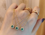 18k gold emerald pendant necklace - Xingjewelry