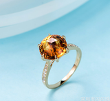 18K GOLD DIAMOND YELLOW CRYSTAL RING 黄水晶钻石戒指