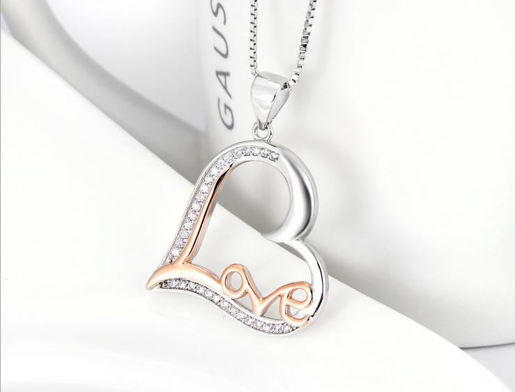 pure 925 sterling silver zircon love necklace - Xingjewelry