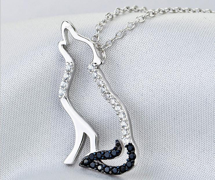 pure 925 sterling silver simple fox necklace - Xingjewelry