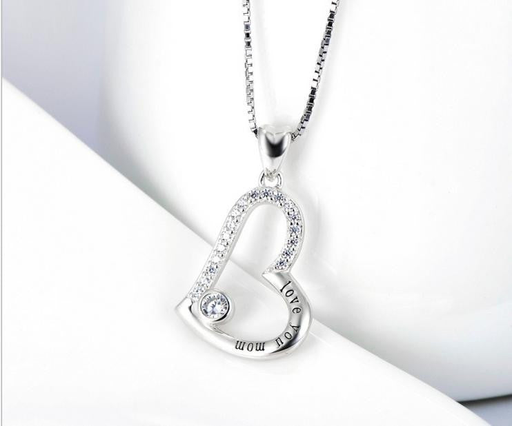 "925 sterling silver ""i love you mum"" necklace - Xingjewelry"