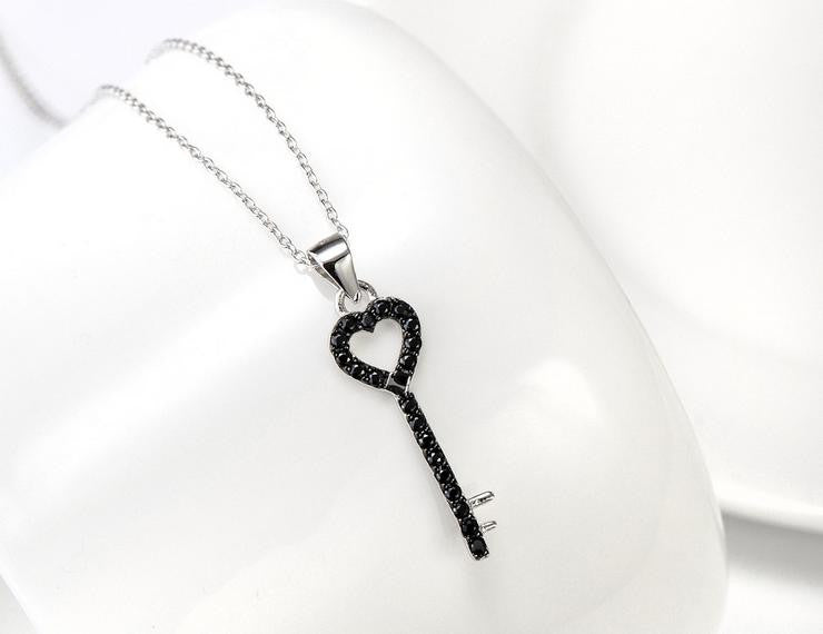 pure 925 sterling silver zircon key necklace - Xingjewelry