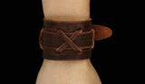 cross copper buckle leather braclet - Xingjewelry