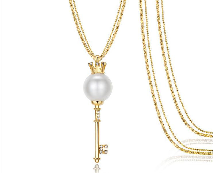 gold plate pearl vintage key sweater necklace - Xingjewelry