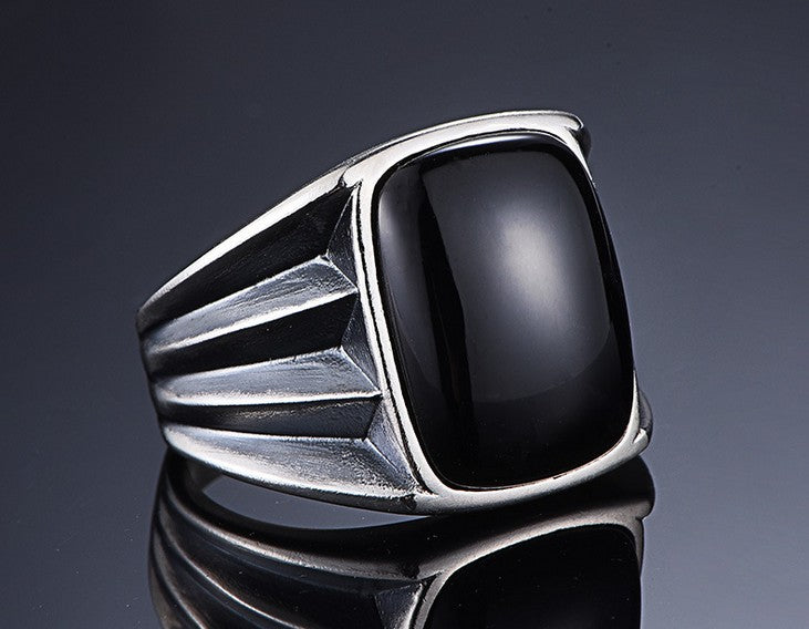 925 sterling silver black agate set ring - Xingjewelry