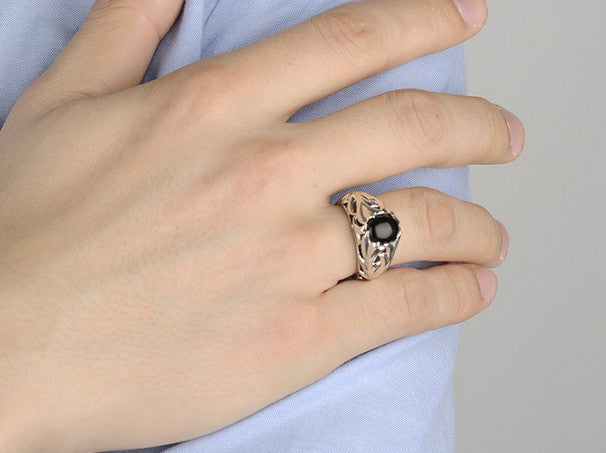 925 sterling silver black agate stone ring - Xingjewelry