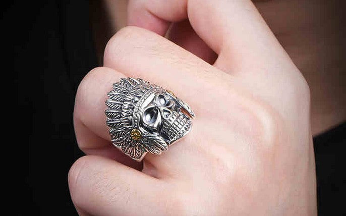 925 sterling silver indian skull eagle feather ring