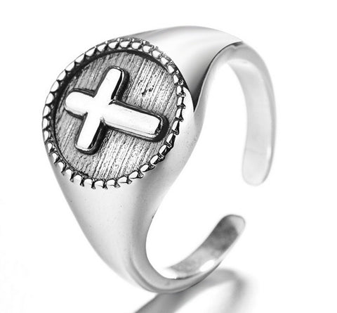 925 sterling silver vintage cross ring