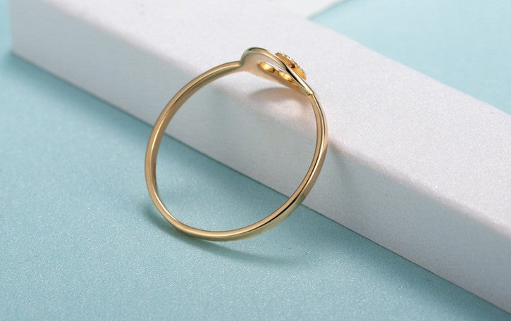 18k gold diamond simple thin ring - Xingjewelry