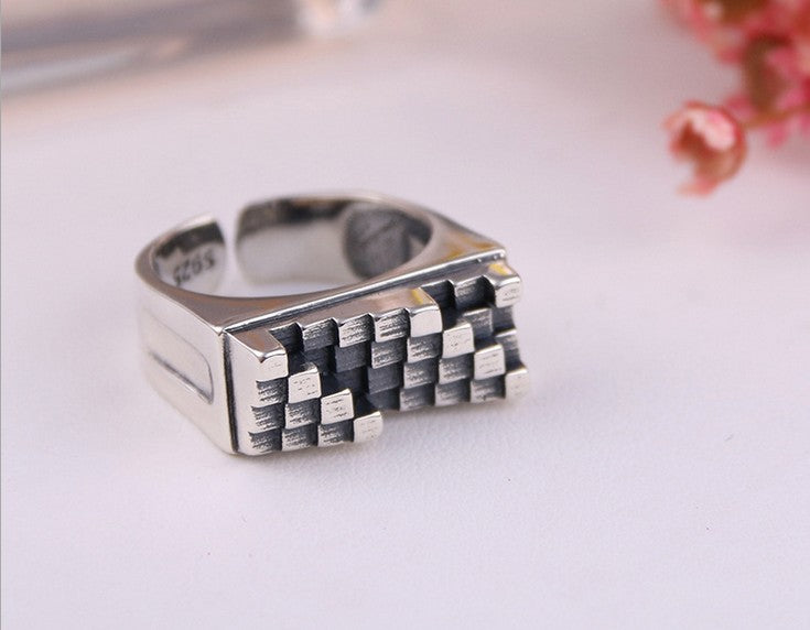 925 sterling silver iregular pattern open ring