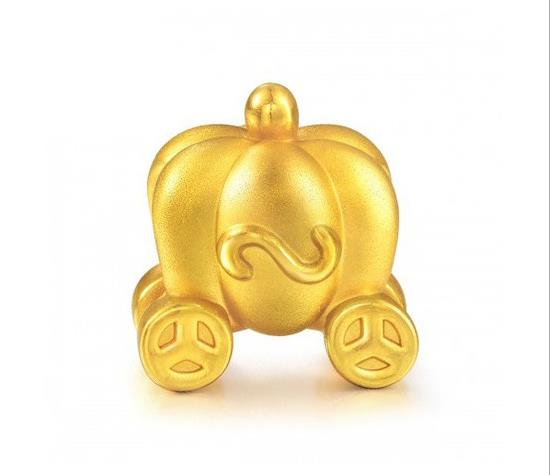 24 k pure gold Halloween pumpkin carriage pendant charm - Xingjewelry
