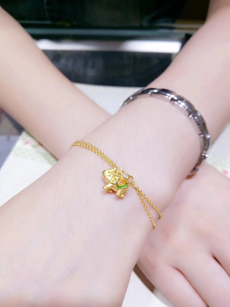 24k gold bracelet with elephant charm pendant - Xingjewelry