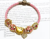 leather bracelet with 24k hello kitty charm 6 pcs charm - Xingjewelry